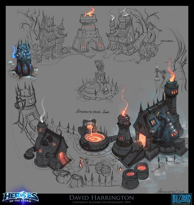 ArtStation - Heroes Of The Storm - Towers Of Doom - Blacksmith Town, David Harrington