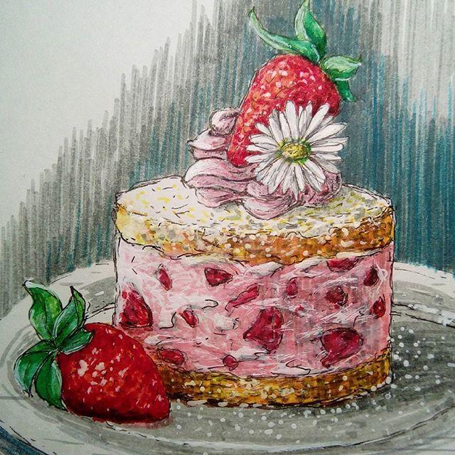 #foodillustration #sketchoftheday #illustration #instaartist  #foodsketch  #artisourway #sketchbook #strawberry #strawberrycream #экстримскетчинг2 #экстримскетчинг2016 #sweetfood #foodstyling #foodstyle #delicious #cutefood #bakery #freshbaked #выпечка #скетч #сахарнаяпудра #вкусняшка #вкусняха #вкуснятина #tastyfood  #sugar #foodart #бисквит #holidaycake  Yummery - best recipes. Follow Us! #tastyfood