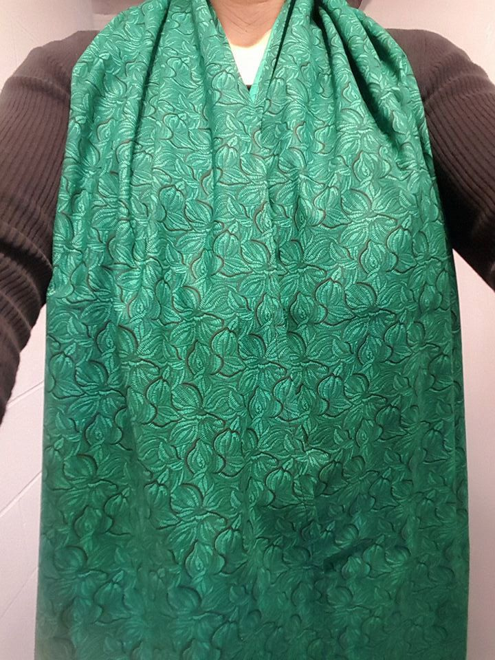 Dining Scarf Adult Bib   Beautiful Emerald Green Leafy Print Lovely Scarf  For Eating Out Or