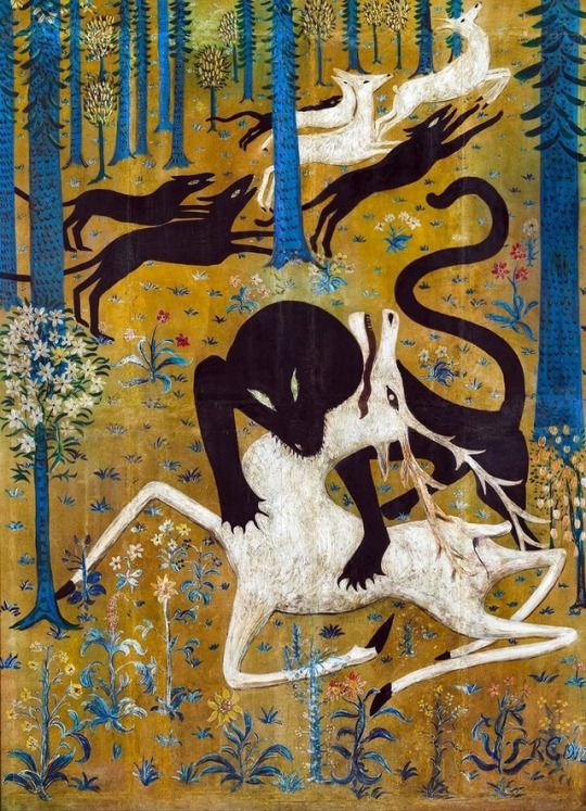 Robert Winthrop Chanler (1872–1930), Leopard and Deer, 1912 (Gouache or tempera on canvas, mounted on wood)