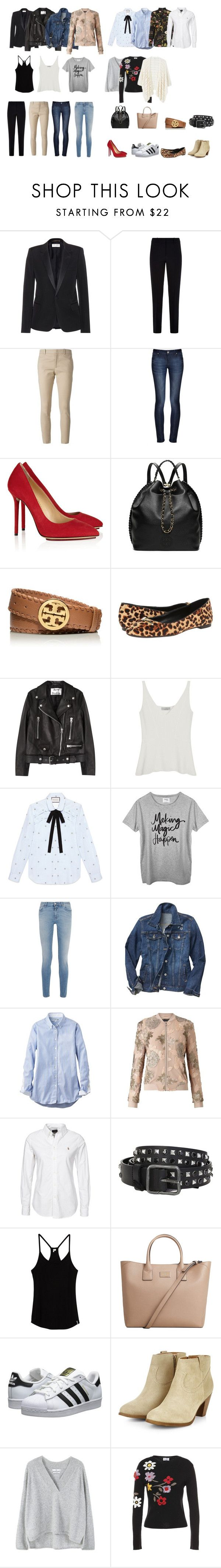 """fondo de armario femenino"" by natyapshopper on Polyvore featuring moda, Yves Saint Laurent, Armani Collezioni, Gucci, DL1961 Premium Denim, Charlotte Olympia, Tory Burch, Nine West, Acne Studios y Mulberry"