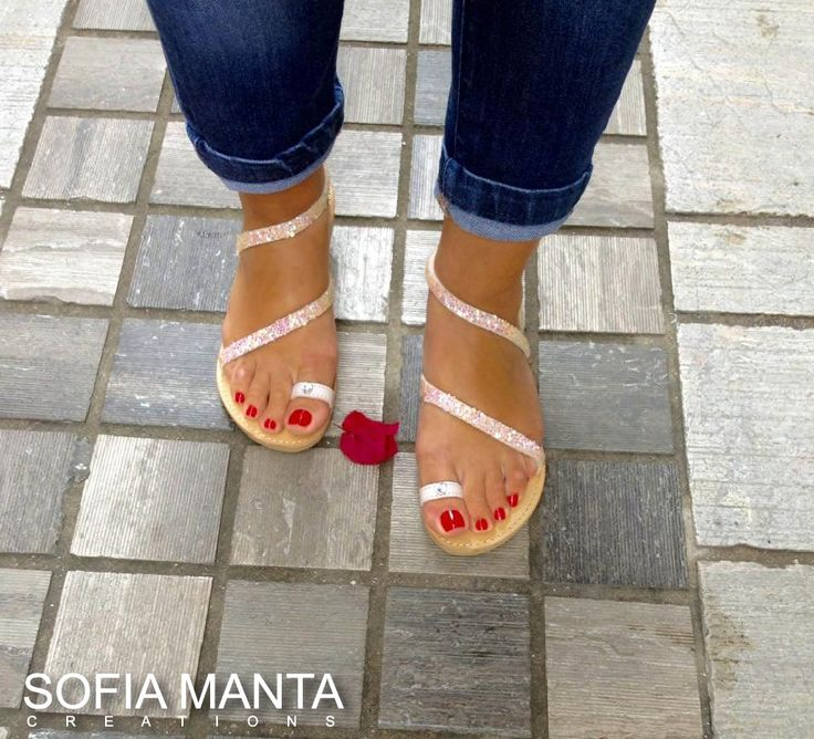 Leather Sandals with rhinestones