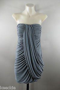 Size S 10 Ladies Strapless Grey Wiggle Dress Cocktail Ball Party Wedding Design | eBay