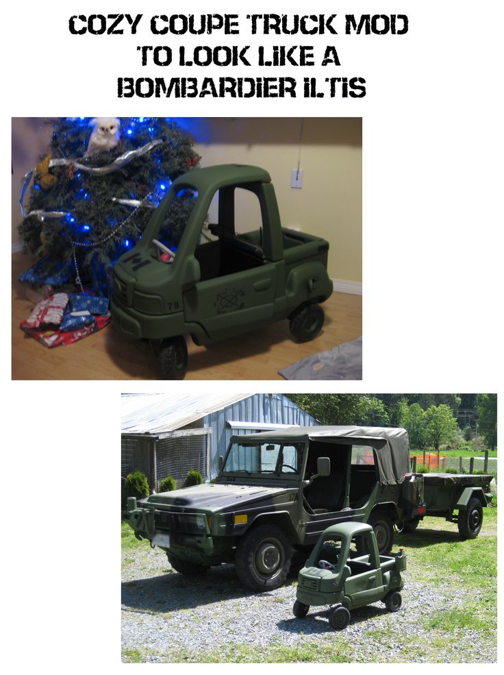 fixed up a broken cozy coupe truck to look like military Jeep. #cozycoupemod #jeep #Bombardier