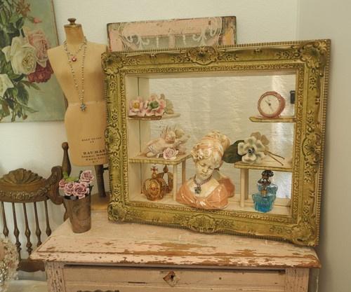 Fab Old Vintage Display Wall Shelf Mirror Shadow Box