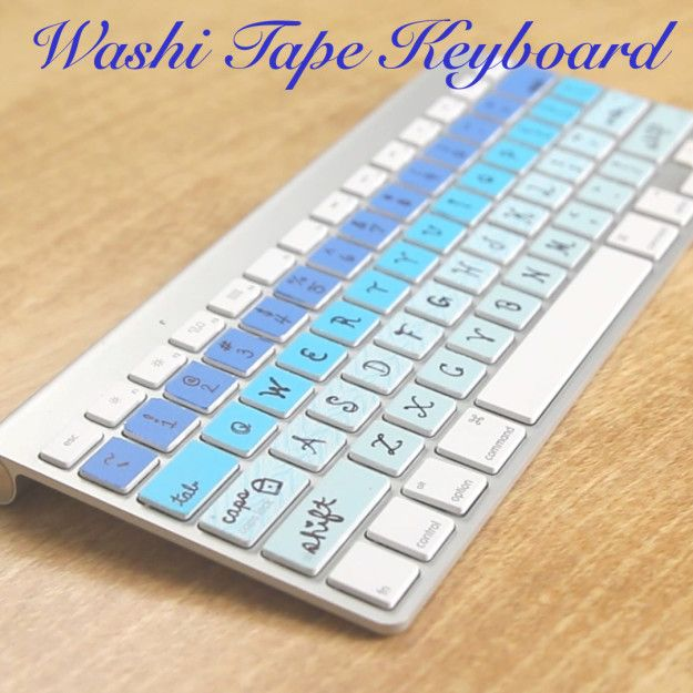 What you need: Washi Tape X-Acto Knife Instructions: Stick a strip of wash tape across a row of keys Use an X-Acto knife to cut around the border of each key Remove the excess from in between the keys