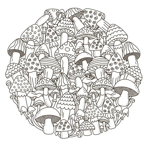 Coloring Pages Mushrooms Fairytale Etsy In 2020 Pattern Coloring Pages Coloring Books Coloring Pages