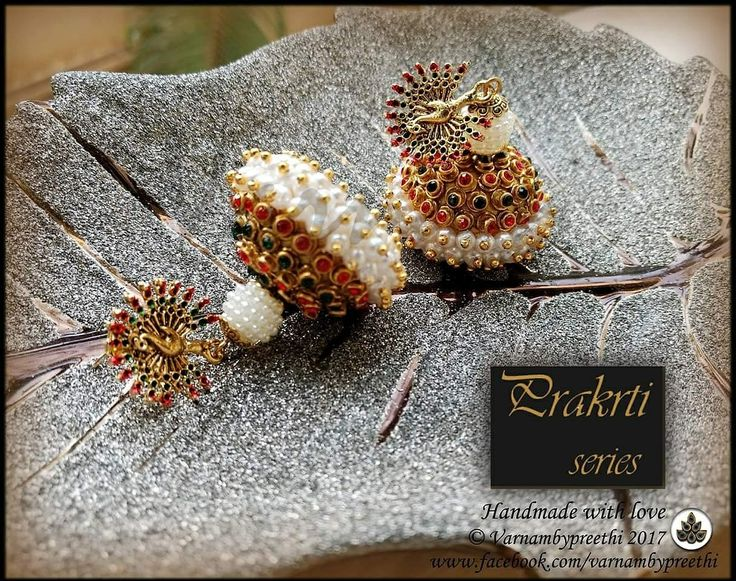 Another one of htese kempu jhumkas for u :)A triple layered pearly based jhumka with green and red kempu work and Beautiful peacock studs all handcrafted with love :) #handmade #handcrafted #varnambypreethi #prakrtiseries #jhumkas #kempustyle #templejewelry #chennai #accessories #jewelry #earrings