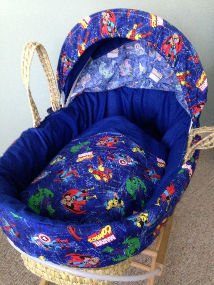 Blue Marvel Moses basket Cover set