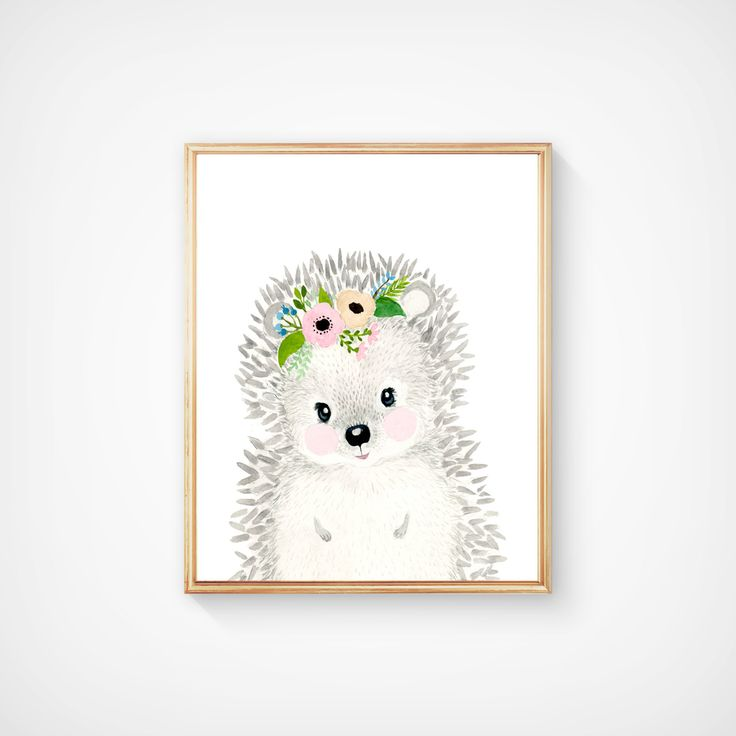 Baby animal : hedgehog  Lets make your little ones room warm and enjoyable!  It is designed in softer grey tones perfect for a nursery or childs room.    Materials: Printed on beautiful high quality, archival and acid free watercolor fine art paper using professional Epson Ultra Chrome inks. Prints will be signed and dated.  Size: Available in 4 sizes! (5x7, 8x10, 11x14, 13x19) Please make your selection from the drop-down menu at check out.   Shipping: Each print will be shipped in rigid…