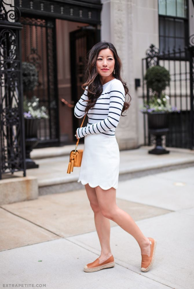 summer fashion // striped tee, white scalloped skirt, leather espadrille platforms. Everything is in regular sizing but still perfect for petites!