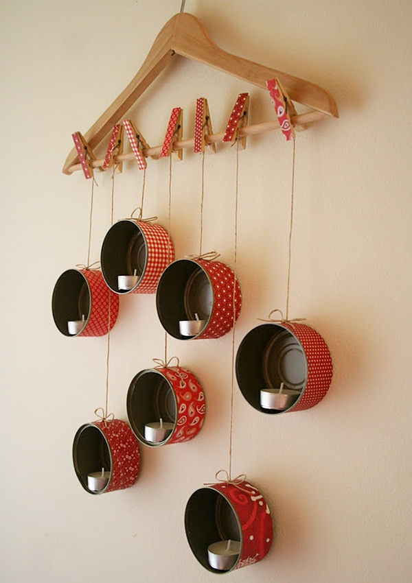 pretty=tuna can,hanger,clothespins. could use with candles or as an organizer.