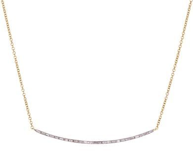Ileana Makri - Baguette Diamond Bar Pendant Necklace in Designers Ileana Makri Necklaces at TWISTonline