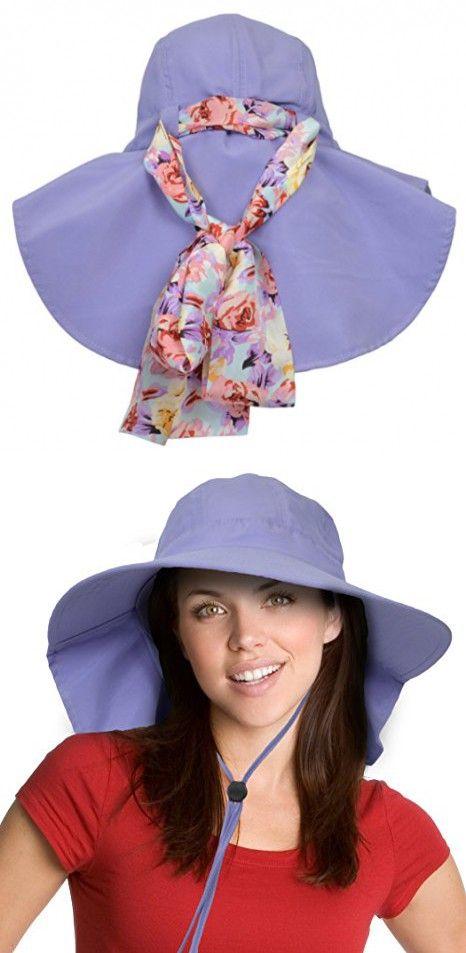 c63f083a941e0 Sun Blocker Women s Sun Hat with Neck Flap Wide Brim Beach Travel Cap  Purple in 2018