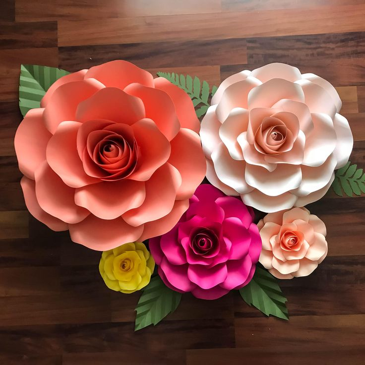 paper flowers svg combo of 5 sizes rose paper flower template diy cricut and silhouette. Black Bedroom Furniture Sets. Home Design Ideas