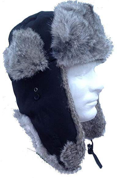 ce7397f3dd3d4 Black Nylon Real Silver Rabbit Fur Trooper Trapper Aviator Hat Review