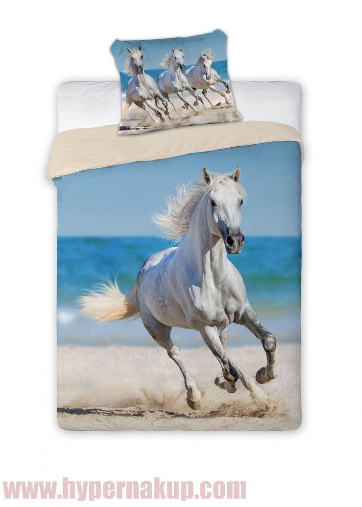 Posteľné bavlnené obliečky  Horse white 140x200cm