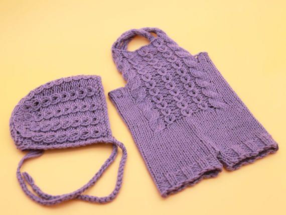 Newborn knit overalls  Newborn knit bonnet  Newborn by 288colors