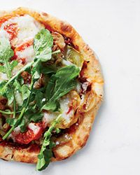 Flatbreads with Herb-Roasted Tomatoes Recipe on Food Wine - I would probably change the sheeps milk cheese to something else...