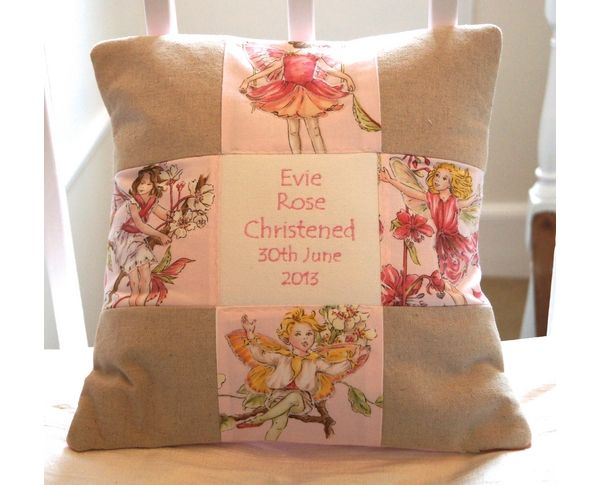 Patchwork Birth/Christening cushion.