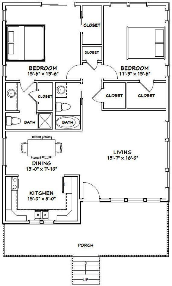 30x40 House 2 Bedroom 2 Bath 1136 Sq Ft Pdf Floor Etsy 30x40 House Plans Guest House Plans Small House Floor Plans
