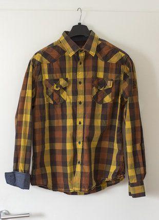 Kaufe meinen Artikel bei #Kleiderkreisel http://www.kleiderkreisel.de/herrenmode/hemden/152415736-orangebraun-kariertes-freizeithemd-mit-jeanslook-applikation-von-manguun-xl