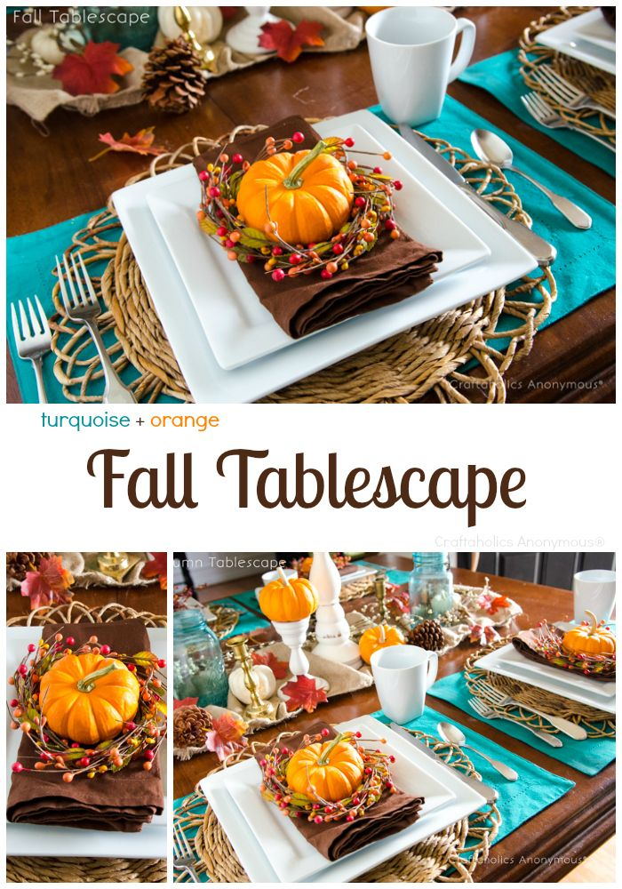 Turquoise + Orange Fall Tablescape with Pumpkins, berries, and pinecones. Perfect for Thanksgiving or any Fall Feast or Party.