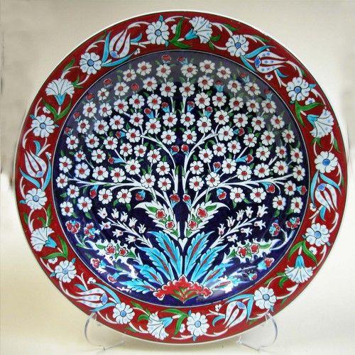 30 cm Klasik Samur Hayat Ağaçlı Çini Tabaklar Osmanlı Renkleri Motifleri Çalışma Örnekleri