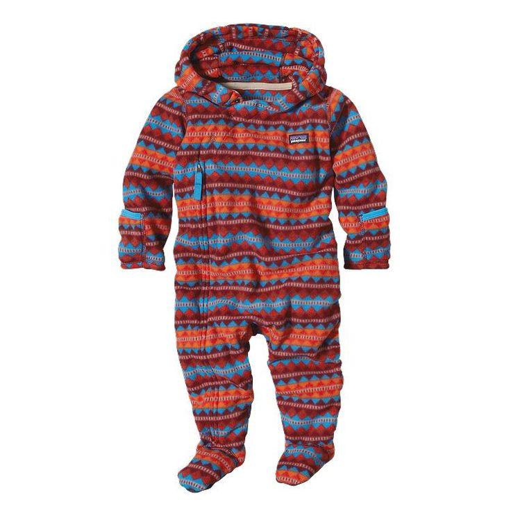 Patagonia Infant Micro D\u00AE Fleece Bunting - Diamond Stripe: French Red DFNR