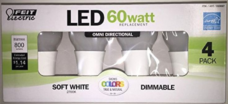 Feit Electric 60 Watt Replacement Led Soft White Dimmable Light Bulbs