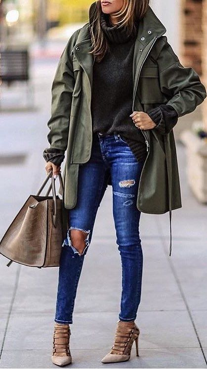 #winter #fashion /  Army Coat + Destroyed Skinny Jeans