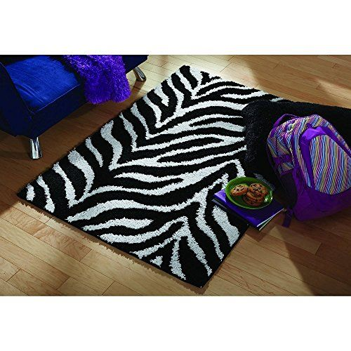 Your Zone Zebra Print Shag Olefin Kids & Children's Rug, 5' x 8', Black and White, Perfect for Kids Rooms