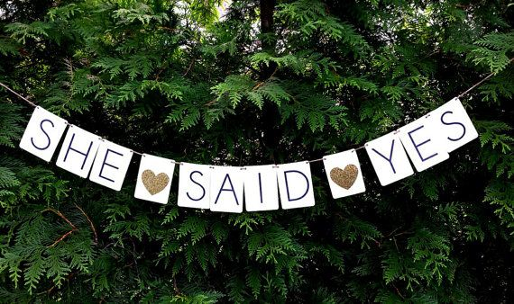 She Said Yes banner. The banner measures 10 from string end to string end. Each panel measures 3.75 x 5.5 and are cream colored cardstock. The