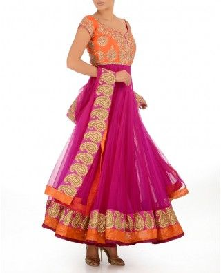Magenta & Flame Orange Anarkali Suit With Crystal Stones