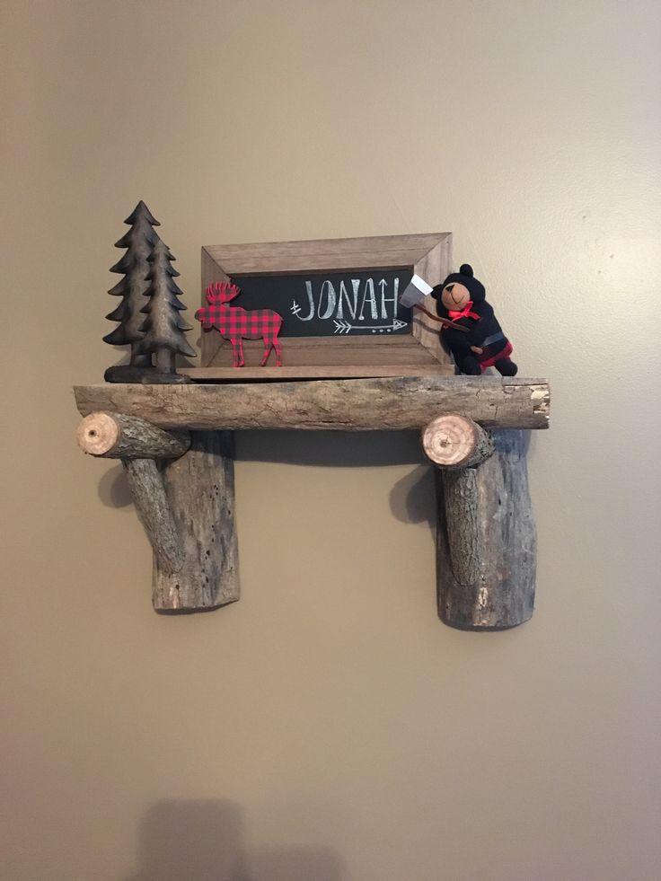 My boys nursery decor #lumberjack #woodshelf #rusticnursery #boynursery #elk #bear #deer