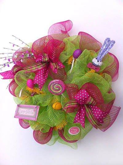 Easter Wreath created by Gina Carter-Small, Bluegrass Kraft Korner - Facebook Group: Trendy Trees, Cute Baby, Colors Wreaths, Doors Decor, Easter Wreaths, Mesh Easter, Deco Mesh Wreaths, Spring Wreaths, Easter Ideas