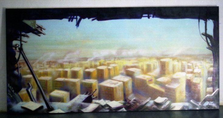 127- La finestra sul mondo Spray on canvas, 306x150 Cm. 2004