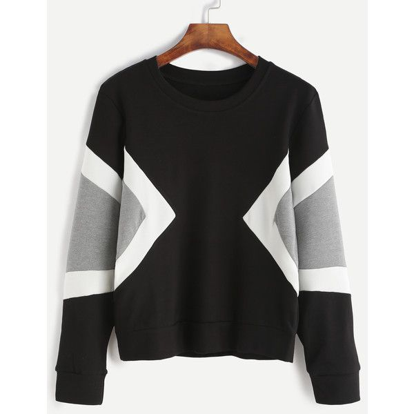 Black Contrast Panel Sweatshirt (100 HRK) ❤ liked on Polyvore featuring tops, hoodies, sweatshirts, black, stretchy tops, long sleeve sweatshirt, color block sweatshirt, colorblock top and long sleeve pullover