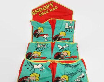 Vintage Snoopy Shoe Bag Schroeder Peanuts Organizer Wall Hanging