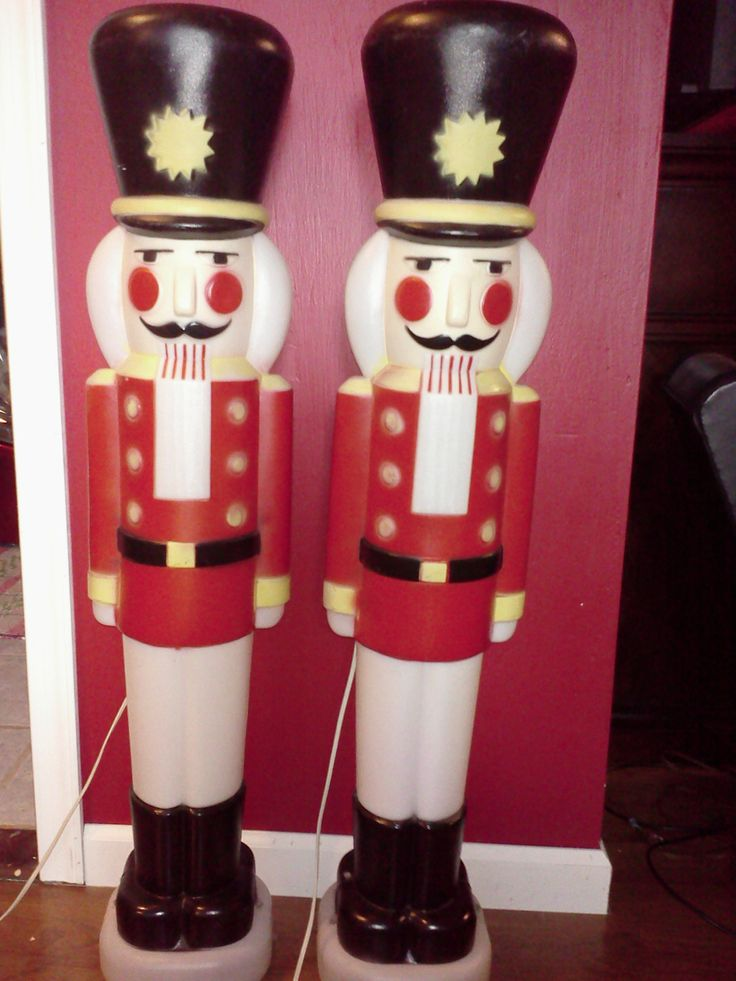 2 Vintage Empire Plastic Christmas Blow Mold Nutcrackers