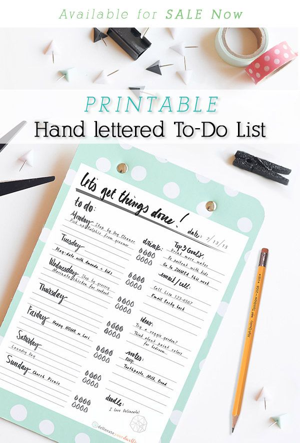 Staying Organized never looked so pretty!! Hand Lettered To-Do List available for purchase at only $3.99 for unlimited printing. Delineateyourdwelling.com