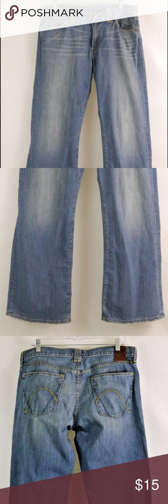 """Lucky Brand Dungarees """"Aged"""" Bootcut Men's 34 Pre-Owned Lucky Brand Dungarees """"Aged"""" Boot-cut Jeans Men's 34 in Great Condition  Small stain on back of left leg about 5"""" from leg opening.    Measurements:  Outseam: 40.5"""" / Rise: 11.5"""" / Waist: 18-18.5"""" / Hips 23"""" / Inseam: 31"""" / Leg Openings: 10""""    More pictures here:   http://www.ebay.com/itm/Lucky-Brand-Dungarees-034-Aged-034-Bootcut-Jeans-Men-039-s-34-/322398507964?ssPageName=STRK:MESE:IT Lucky Brand Jeans Bootcut"""