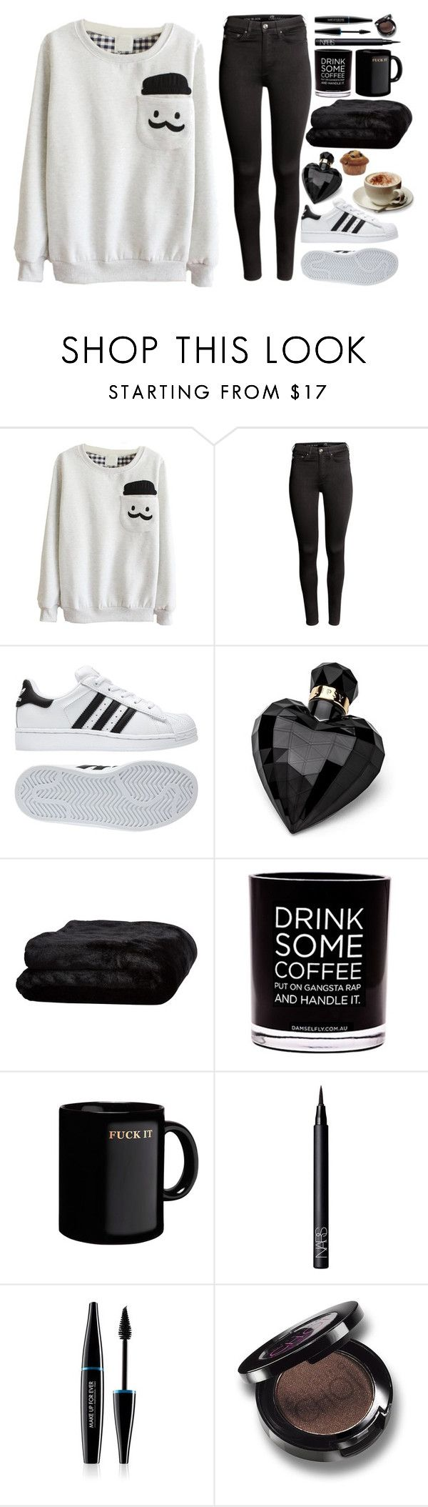 """""""Marshmellow"""" by silent-sorrow ❤ liked on Polyvore featuring H&M, adidas, Lipsy, Olivier Desforges, Damselfly Candles, NARS Cosmetics and MAKE UP FOR EVER"""