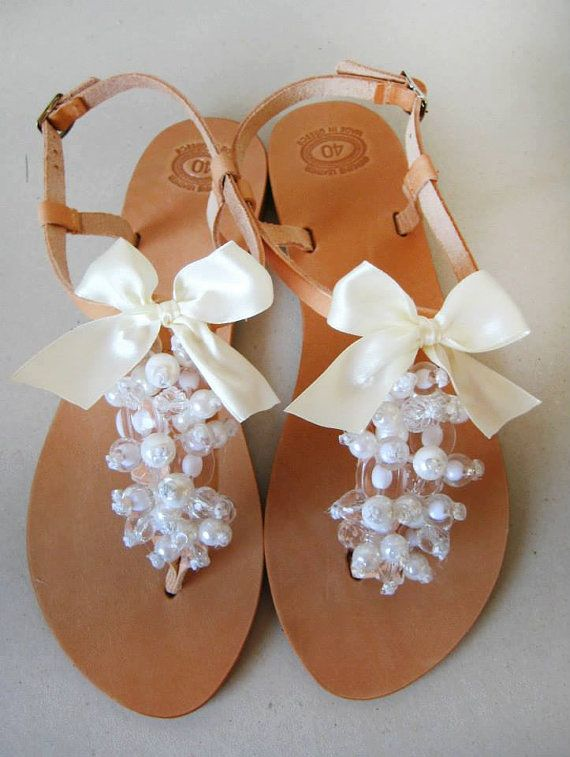 Bridal Shoes  Handmade Leather Sandals decorated with off