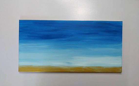Blue Abstract Painting on Canvas original hand painted