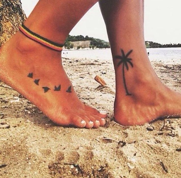 Flying Sparrow Foot Tattoo Ideas - Palm Tree Ankle Tanklet Tat - MyBodiArt.com - Beach, Summer #HotTattoos