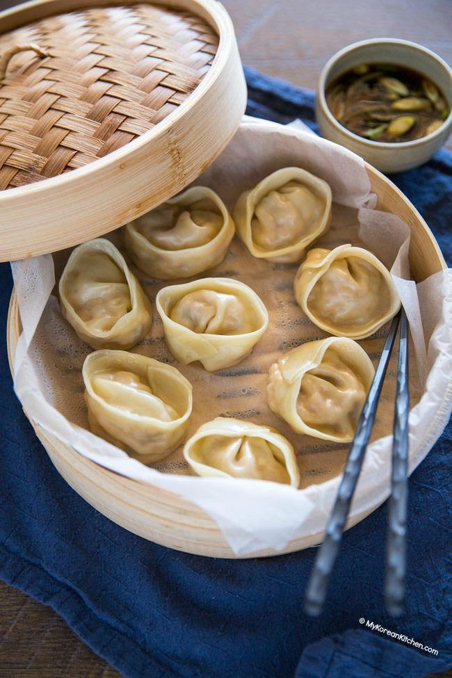 Steamed Kimchi Mandu (Kimchi Dumplings) | MyKoreanKitchen.com