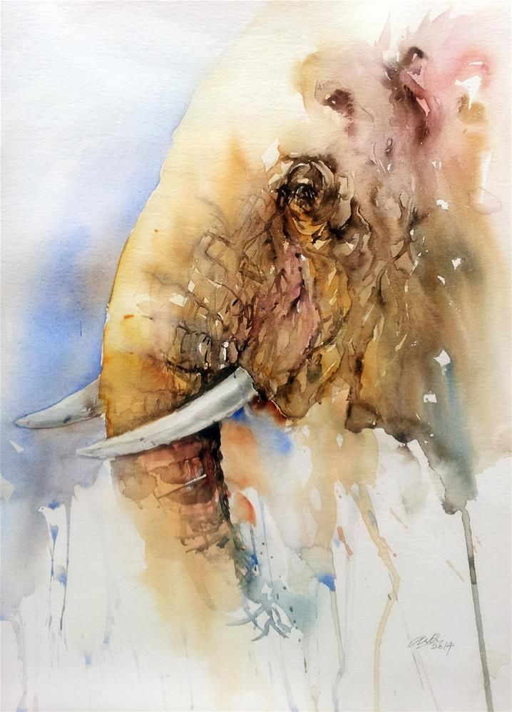 """""""From this Side_Elephant"""" original fine art by Arti Chauhan"""