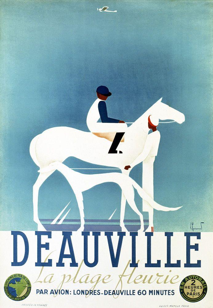 Affiche chemin de fer de l'état - Deauville - illustration de Commarmond - France -