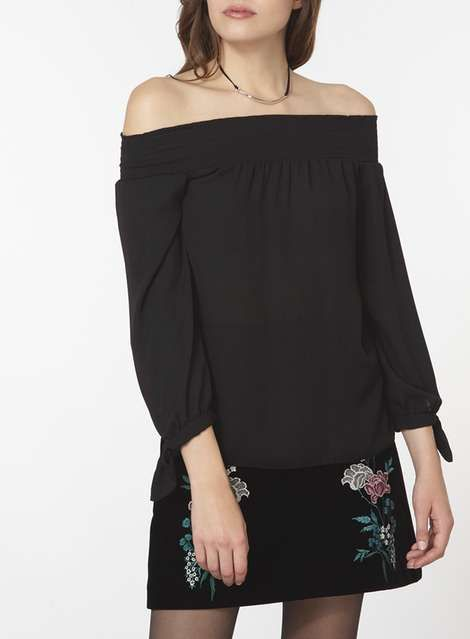 DP Curve Black Satin Bardot Top - Plus Size Clothing - Clothing - Dorothy Perkins